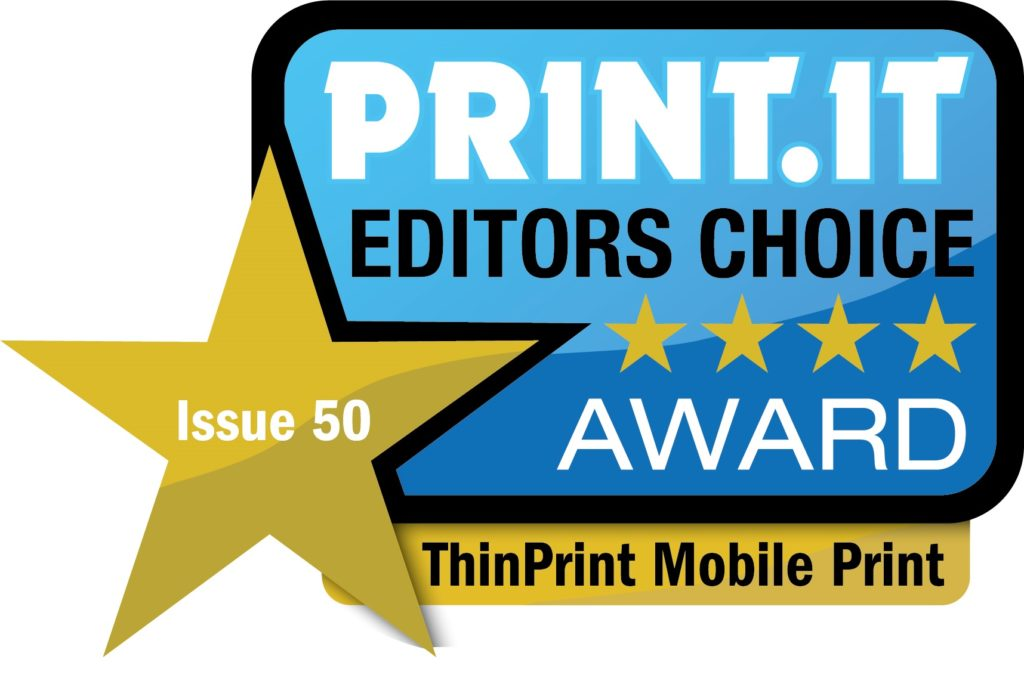 Das Print.IT magazine verleiht ThinPrint Mobile Print den Editors Choice Award
